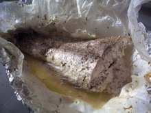 Σφυριδα στη λαδοκολλα με ουζο και κρεμα γαλακτος