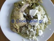 Λεμονάτο κοτόπουλο με πράσινα λαχανικά και ανθότυρο