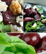 Γλυκόξινη σαλάτα ζεστή - κρύα με παντζάρια και σπανάκι