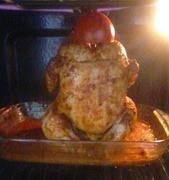 Κοτόπουλο ψημένο με κουτάκι μπύρας chicken baked with a beer can inside