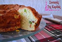 Αλμυρό κέικ με αρακά και λιαστές ντομάτες