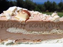 Τούρτα παγωτό-μπεζέδες, με kinder bueno