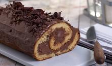 Παγωμένος κορμός σοκολάτας με πραλίνα φουντουκιού