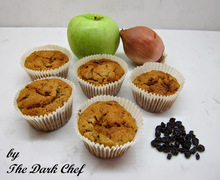 Muffins με κρεμμύδι, σταφίδες και μήλο