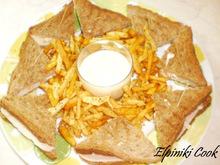 Κλαμπ σαντουιτς με σπιτικα τσιπς