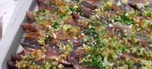 Ψάρι γαύρος λαδορίγανη φιλεταρισμένος και ψητός στο φούρνο