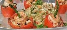 Ντομάτες γεμιστές με γαρίδες και στρείδια