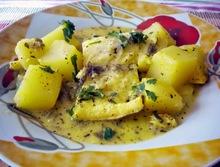 Μπακαλιαρος παστος λεμονατος με πατατες