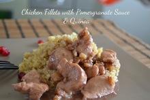 food challenge: κοτόπουλο με γλυκόξυνη σάλτσα ροδιού & κινόα - chicken fillets with pomegranate sauce & quinoa