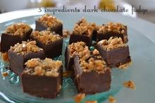 fudge μαύρης σοκολάτας με φλωρεντίνες - 3 ingredients dark chocolate fudge
