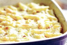 Πένες ψητές με ζαμπόν και τυρί