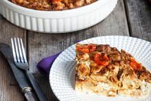 Τυρόπιτα Σουφλέ με χοιρομέρι και ντοματίνια