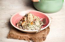 Κοτόπουλο αλά κρεμ με λαχανικά και πιλάφι