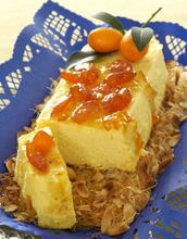 Τυρόγλυκο με φέτα και μυζήθρα, σε κρούστα καταϊφι, με αμύγδαλα και γλυκό νεράντζι