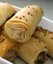 Aubergine (eggplant) and walnut rolls/ Πιτάκια μελιτζάνας με καρύδι