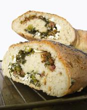stuffed bread with feta cheese, onion, dill and olives/ Γεμιστό ψωμί με φέτα, άνηθο, κρεμμυδάκι και ελιές