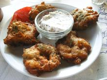 Syros speciality: sun dried tomato fritters/ Συριανή σπεσιαλιτέ: τηγανιτές λιαστές ντομάτες