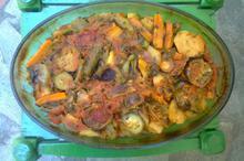 Συνταγή: Μπριαμ με μελιτζάνες, κολοκύθια, πιπεριες, καρότα, γλυστρίδα, άνηθο, ντομάτες