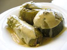 Stuffed courgettes with avgolemono (egg-lemon) sauce/ Κολοκυθάκια γεμιστά αβγολέμονο