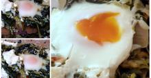 Σπανακόρυζο στο φούρνο με αυγά