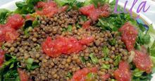 Σαλάτα με φακές και βινεγκρέτ ντομάτας