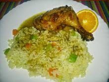 Κοτόπουλο με χυμό πορτοκάλι, μέλι και πιλάφι με λαχανικά