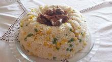 Εντόσθια κοτόπουλου με φρέσκια ντομάτα και ρύζι με λαχανικά