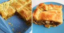 Μανιταρόπιτα με Σφολιάτα και Κιμά Μανιταριών Mushroom Pie with Puff Pastry