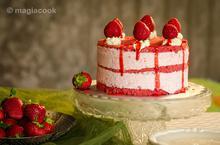 Τούρτα παγωτό - red velvet cake με παγωτό φράουλα | magiacook