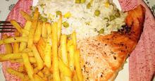 Σολομός στην Λαδόκολλα με Σπυρωτό ρύζι με λαχανικά Parchment baked Salmon with LongGrain Rice with Vegetables