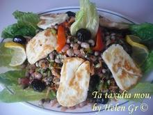 Φασόλια μαυρομάτικα σαλάτα με τυρί
