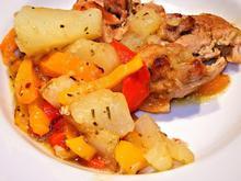 Ψητό κοτόπουλο με τζιντζιμπίρα και λαχανικά, γλασαρισμένο με σόγια και μέλι