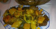 Μανιτάρια στο φούρνο με πολύχρωμες πιπεριές