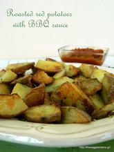 Roasted red potatoes with homemade BBQ sauce