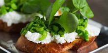 Συνταγή: Κροστίνι με γαλλική μπακέτα, μπιζέλια, ανθότυρο, μυρώνια, εστραγκόν, κάρδαμο, ελαιόλαδο, πεκορίνο, λεμόνι, αλάτι, πιπέρι