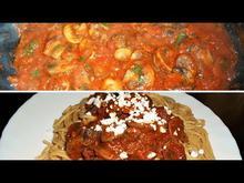 Μανιτάρια Τηγανιά με Σάλτσα Fried Mushrooms with Wine and Tomato Sauce