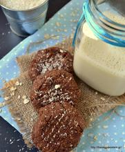Chocolate tahini coconut oat cookies
