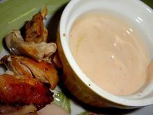Ψητές μπουκιές κοτόπουλου με ροζ σάλτσα
