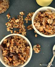 Scrumptious almond granola with coconut and chocolate