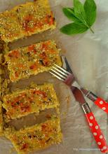 Savoury rice bars and mint dip