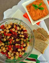 Refreshing chickpea salad and mint + tomato flavored hummus