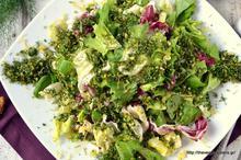 Πράσινη σαλάτα με λεμονάτα ψίχουλα καρυδιού κ μυρωδικών- Green salad with lemony walnut herbed crumbs