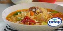 Συνταγή: Σούπα με μοσχάρι, καρότα, κρεμμύδια, λάχανο, κολοκυθάκια, σελινόριζα