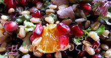 Σαλάτα πράσινη με στάρι, ρόδι και πορτοκάλι