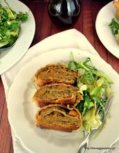 Butternut squash roll with mushrooms and walnuts