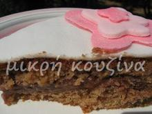 Κέικ με γέμιση κρέμα σοκολάτας και επικάλυψη ζαχαρόπαστα