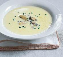 Σούπα βελουτέ με μύδια και τζίντζερ