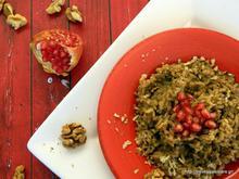 Mushroom risotto with walnuts and pomengranate