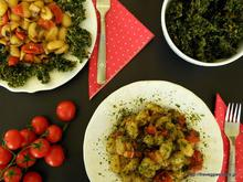 Gnocchi with mushrooms, tomatoes and kale chips