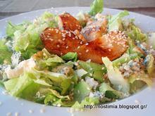 Σαλάτα με blue cheese κ καραμελωμένα αχλάδια – Blue cheese salad with caramelised pears